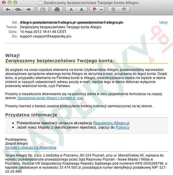 ec4ecc42bd689a Nowy atak phishingowy na użytkowników Allegro. Uwaga na fałszywe e-maile! |  Gadżetomania.pl
